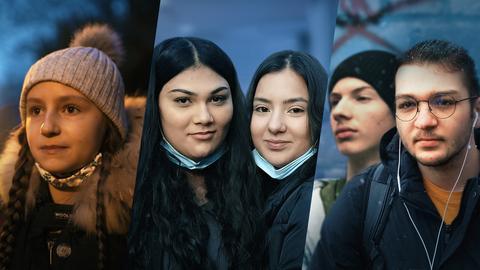 Protagonisten von Corona-Logbuch Schule: Helena, Soumia & Illayda, Tudor & Elias.