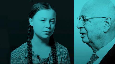 Teilnehmer des Weltwirtschaftsforums 2020, gegenüber Demonstrantin Greta Thunberg.
