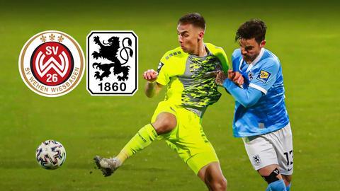 13 Dennis Erdmann, (1860) gegen 9 Phillip Tietz, gelb, (Wehen Wiesbaden). Beide kämpfen um den Fußball. Außerdem zu sehen: die beiden Logos der Fußballclubs.