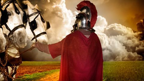 Römischer Krieger mit Pferden